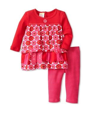 70% OFF Sweet Potatoes Baby Hearts A Float Mini Dress & Legging Set (Red)
