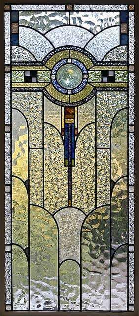 Art Deco stained glass panel in a private residence, Melbourne, Australia