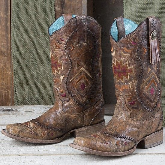 Corral Square Toe Aztec Boots