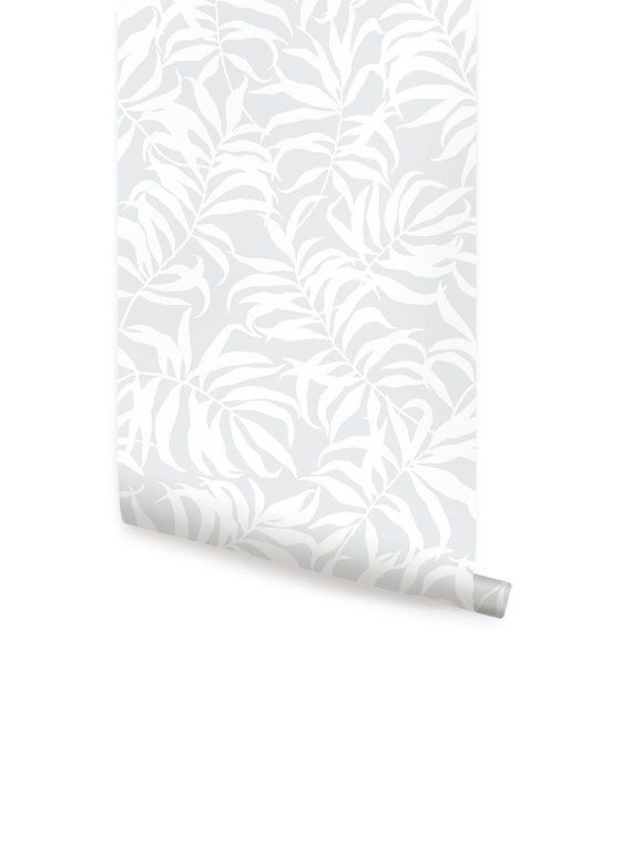Tropical Palm Leaves Solid Grey Peel Stick Fabric Wallpaper Etsy Fabric Wallpaper Simple Shapes Cleaning Walls