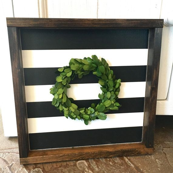 Stripes & Boxwood Wreath | Neutral Decor | Fixer Upper Style | Topiary | Black and White Stripes | Framed Box Decor by BunkhouseandBroadway