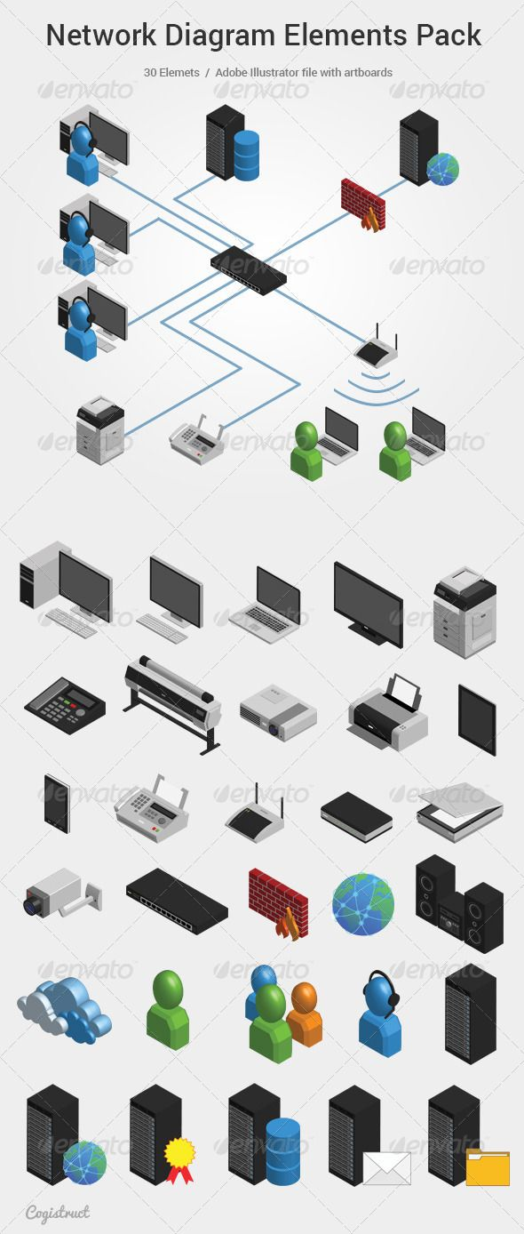 Network Diagram Elements Pack #GraphicRiver Pack of 30 elements for imaging computer network. You can make a diagram of your network using the elements in this set. Elements: - Desktop - Notebook -