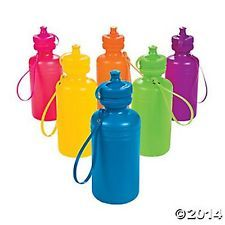 LOT OF 6 NEON WATER BOTTLES W/STRAPS NEW Gifts/Favors