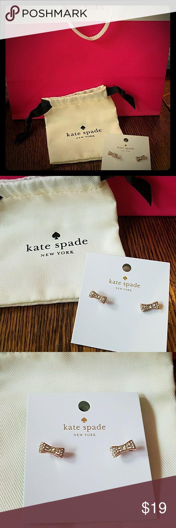 Kate Spade Stud Earrings Ready set Bow Kate Spade Stud Earrings Clear stones- rose gold  NWT kate spade Jewelry Earrings