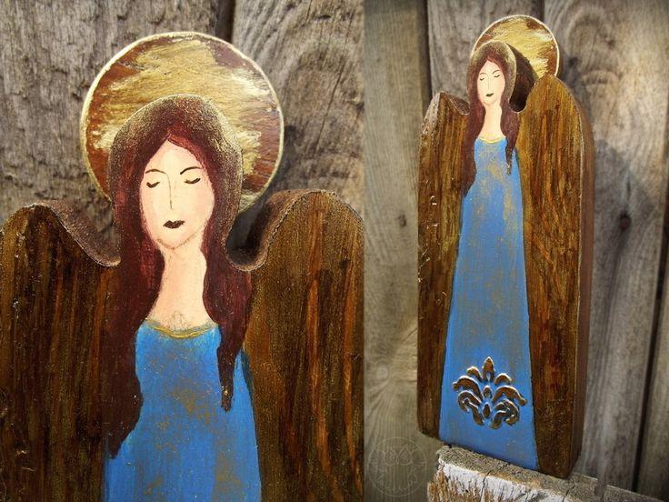 Blue angel handpainted on wood