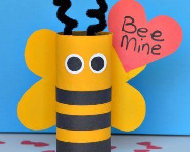 Alla hjärtans dag, pyssel, pyssla, pysseltips, pysselidéer, barn, barnpyssel, pyssel för barn, enkelt pyssel, bi, toarulle, toarullar, insekt, toarullepyssel, Bee mine, pyssla med toarullar