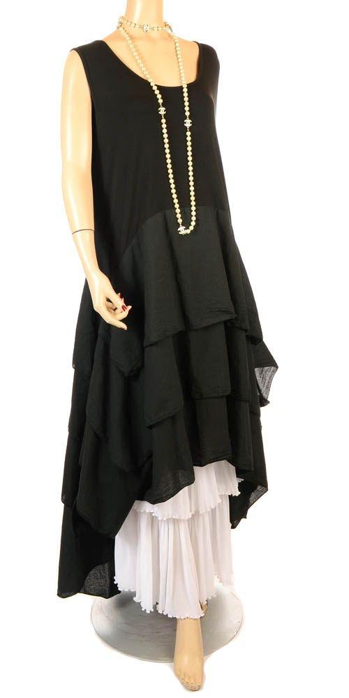 Summer+lagenlook | Eden Fabulous Black Tiered Lagenlook Dress - Summer 2013