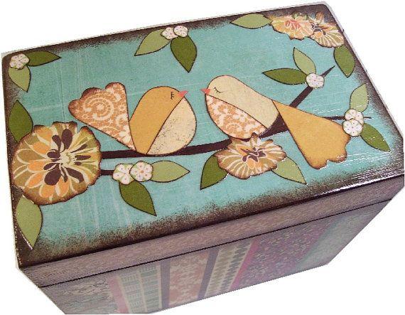 Caja de la receta, caja madera receta, receta Decoupaged caja, caja de la receta de aves, boda receta caja, cuadro de despedida de soltera, sostiene las tarjetas 4 x 6, hechas por encargo