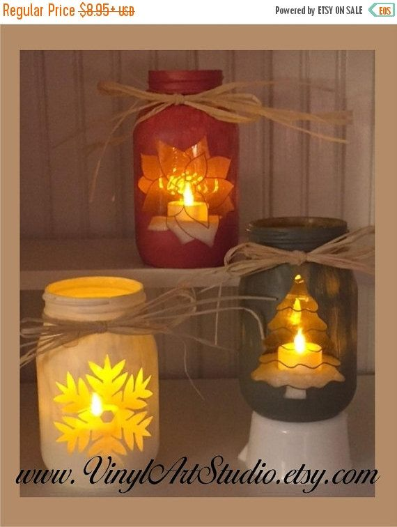 ON SALE Chalk Painted Quart Jar Candle Holder Centerpiece...........Holiday, Rustic, Vase, Christmas Tree Winter Poinsettia Snowflake