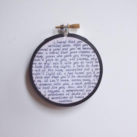 cursive typewritten wall hanging hoop art - adele lyrics - black and white