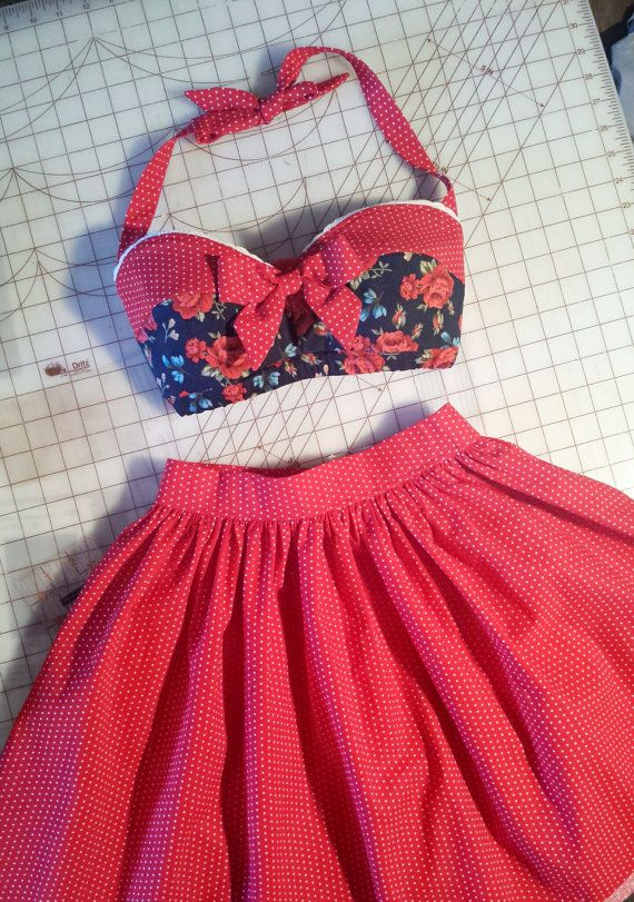 Pinup Rockabilly Red Rose Polkadot sweetheart scallop trim by MissLizzyD on Etsy Pin Up Rockabilly Floral Red Rose and polkadot Bandeau top Retro 50s inspired Vintage Bra, halter straps With scallop trim and Bow Front French country shabby chic
