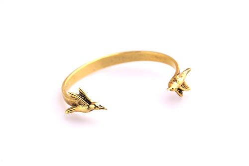 Hummingbird gold cuff from silkstonewood