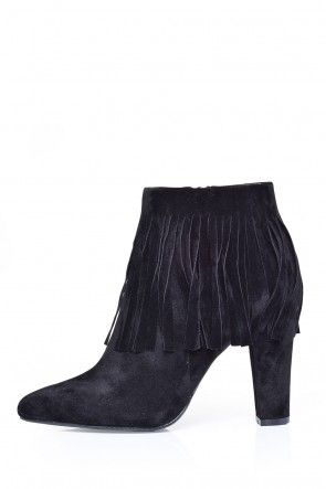 Hillary Fringe Ankle Boots in Black Suede
