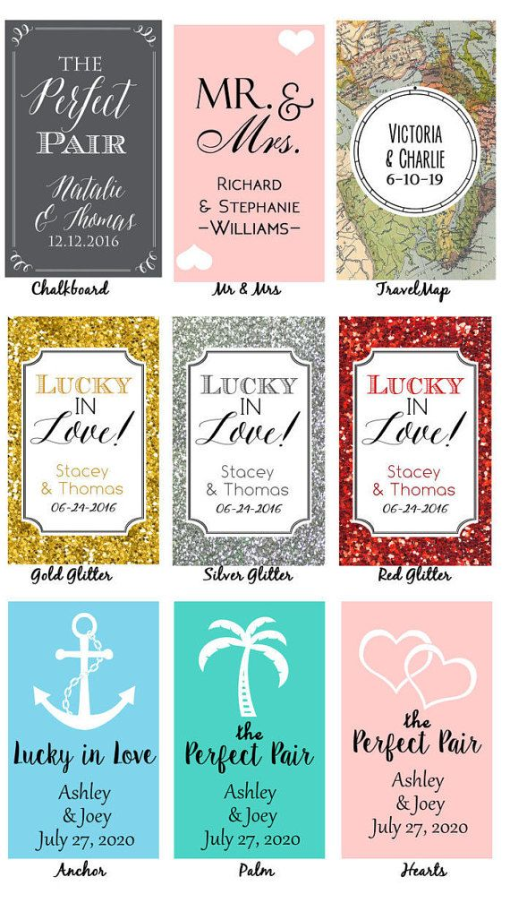 "Give a unique personalized wedding favor in a gold glitter design or chalkboard perfect match design. These custom playing card cases can be personalized with your names and wedding date for a truly unique gift. Show that youre a perfect pair and lucky in love with a personalized playing card favor!  -Each full sized deck of playing cards measures 3 1/2"" x 2 1/4"" (deck is 3/4"" when stacked) -Playing Card backs will have the black and red designs shown in the photo -Decks come bulk packed in…"