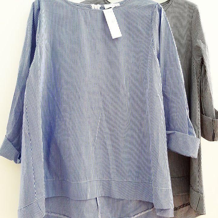 #camicia #cotone # asimmetrica #quadretti #celeste #verde #valeria #abbigliamento