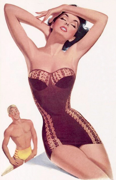 Jantzen advertisement, 1953.  Artwork by Pete Hawley.: Vintage Swimsuits, At The Beaches, Vintage Illustrations, Jantzen Petehawley Pinup Jpg, Vintage Pinup, Vintage Pin Up, Pinup Art, Retro Pin, Pete Hawley