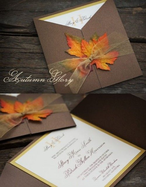 An elegant way to pull in the autumn theme - the brown and gold paper is pretty against the fire of the leaves.