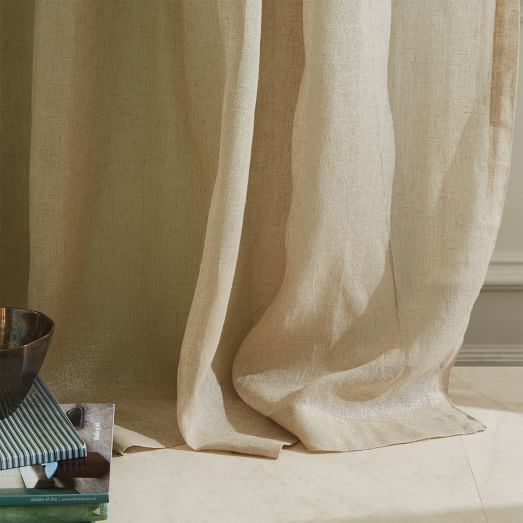 west elm Sheer Metallic Printed Curtain - Belgian Flax/Silver