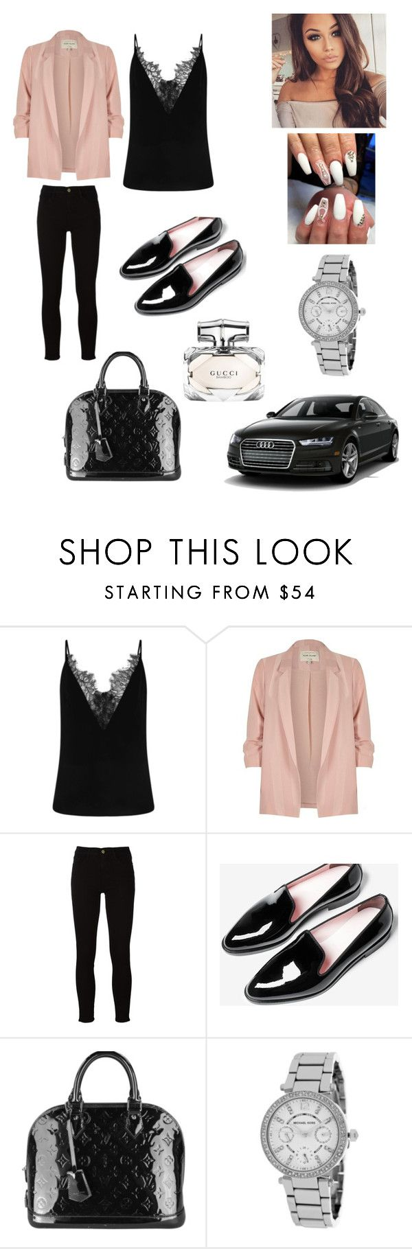 """Costa cafe"" by vs-closet ❤ liked on Polyvore featuring River Island, Frame, Louis Vuitton, Michael Kors and Gucci"