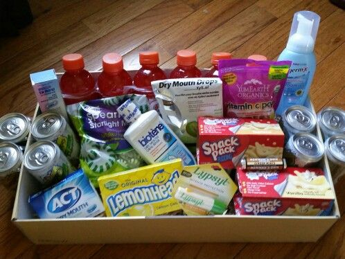 Chemo care package :  Ginger mints and ginger ale for nausea  Biotene for mouth sores Vitamin c lollipops and losengers for dry mouth Lemon candy for metal taste  Hand sanitizer to stay healthy  Lip balm  Gatorade: water, carbohydrates and electrolytes Pudding treats