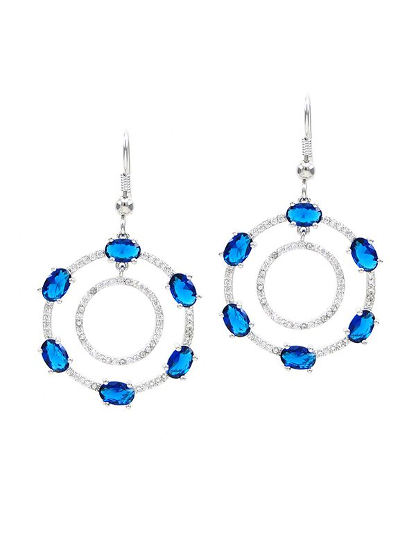 Wholesale double circle brilliant blue cubic zirconia hook dangle earrings