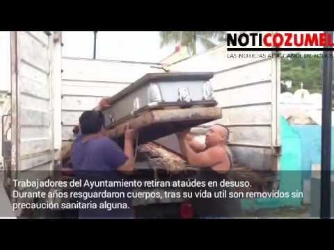 Manipulan feretros en Cozumel sin cuidados sanitarios, luego de ser sacados de las criptas - YouTube