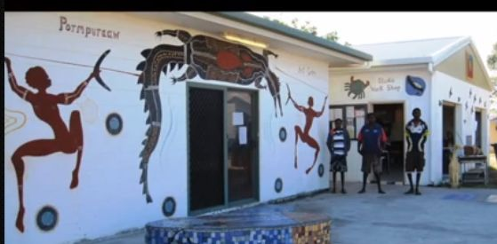 This is the Pormpuraaw Arts and Cultural Centre. Managed by Paul Jakubowski the community has flourished under the artists creative sprit  and work with all the murals around the community reminding them of culture and stories that have been passed down through the generations. Works for sale at the centre.