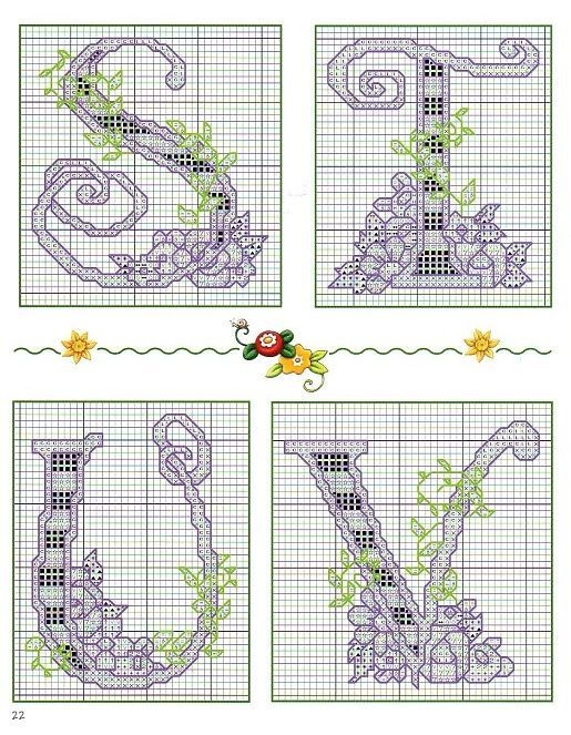 Floral Checkered Alphabet