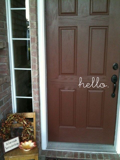 "Hello vinyl lettering decal for front door measures 14"" across x 5.25"" tall.  A fun font for a fun greeting to everyone who comes to your door.  Pick any color to stand out on your door."