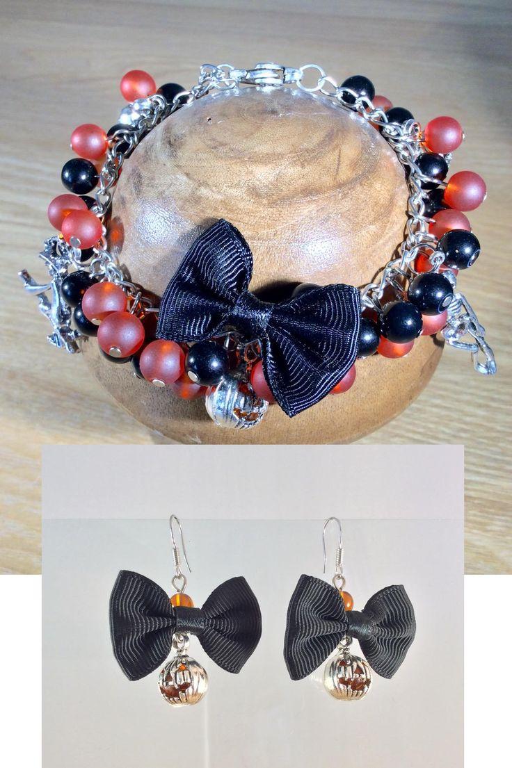 Halloween bracelet, ladies bracelet, Steampunk, Witch, Skeleton, Charm bracelet, Halloween earrings, Pumpkin, Cabochon, Halloween, OOAK by Angelscrafts1 on Etsy
