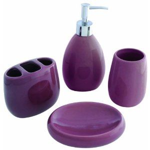 Purple Bathroom Accessories Waverly 4 Piece Bath Gift Set