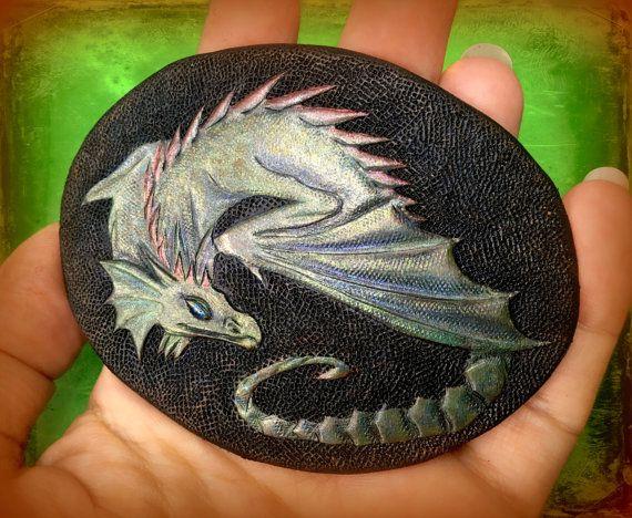 Rainbow dragon hair barrette  Hand tooled by Gemsplusleather