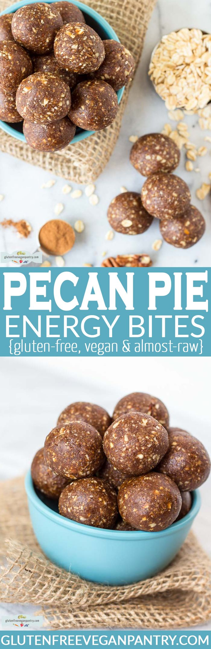 Pecan Pie Energy Bites - 5 ingredients, 15 minutes & incredible flavour! Vegan, gluten-free and almost-raw. All clean eating ingredients are used for this recipe. Pin now to make this healthy snack recipe later!