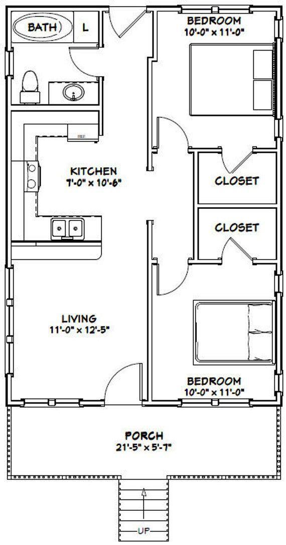 22x32 House 2 Bedroom 1 Bath 704 Sq Ft Pdf Floor Plan Instant Download Model 1b Guest House Plans Tiny House Floor Plans 2 Bedroom House Plans