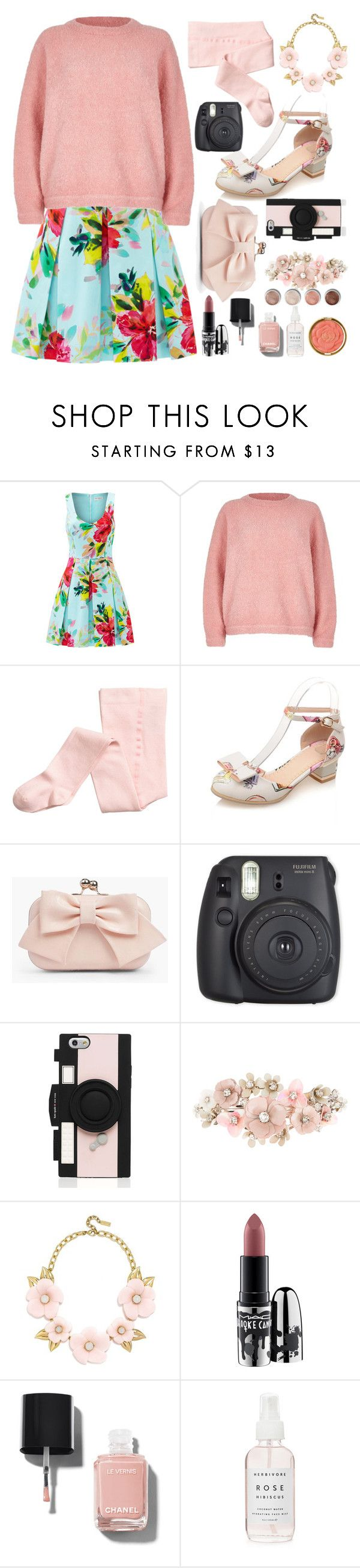 Louisa Clark// Pretty in Pink by princess-of-trenzalore ❤ liked on Polyvore featuring Trina Turk, River Island, Boohoo, Kate Spade, Accessorize, BaubleBar, MAC Cosmetics, Chanel, Terre Mère and Milani