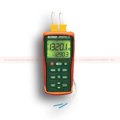 http://handinstrument.se/termometer-r1288/2-kanalig-termometer-temperaturlogger-med-dubbla-ingangar-53-EA15-r1498  2-kanalig termometer / temperaturlogger med dubbla ingångar  Termometer med dubbla ingångar accepterar termoelement typ J, K, E, T, R, S och N  Inbyggd datalogger lagrar upp till 8800 datamängder  RS-232 port för att överföra data till PC för analys (PC-program och kabel ingår)  Kompakt och robust design med stor bakgrundsbelyst display  Visar [T1 plus T2] eller [T1-T2...