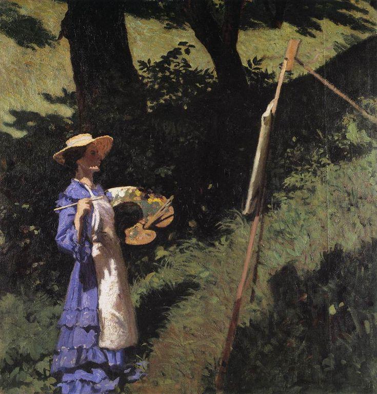 """The Woman festő (1903).  Ferenczy Károly (magyar, 1862-1917).  Olaj, vászon.  Magyar Nemzeti Galéria.  A modell a """"Woman Festő""""  Egy nő volt a nagybányai, aki ábrázolják más Ferenczy működik.  A kompozíció épül a ritmust az árnyékok a fatörzsek és napos csíkok.  A festőnő áll a közepén káprázatos zöldek a hegyoldalban.  A kép színezése megegyeznek a palettán."""