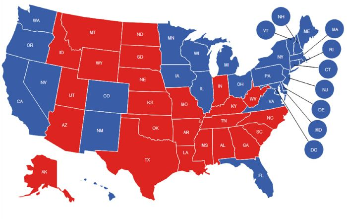 Democrat Blue States Have 46 Percent More Murders Than Republican Red States. General Election Map (Final). Red States (R), Blue States (D).
