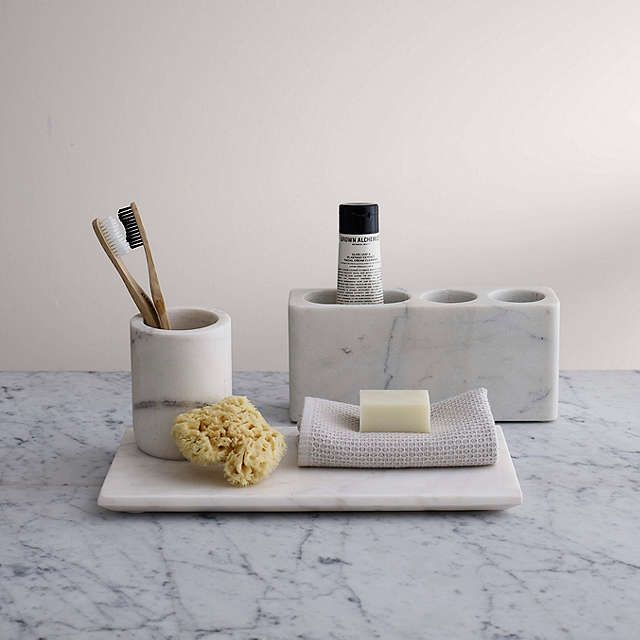 BuyJohn Lewis White Marble Bathroom Accessories Tray Online at johnlewis.com