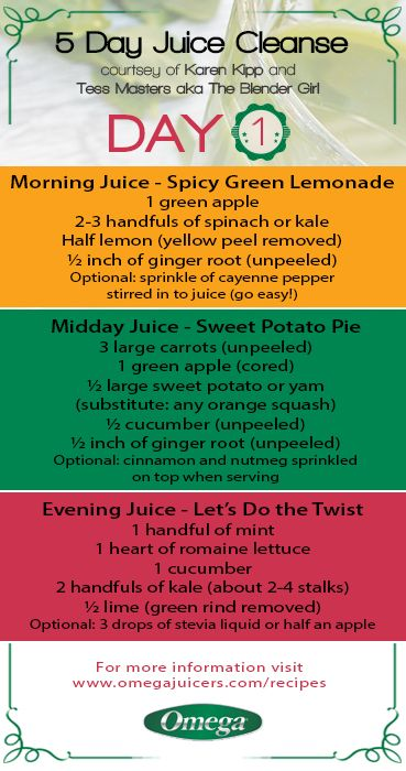 5 Day Juice Cleanse - Day 1 Recipes! http://omegajuicers.com/recipes/recipe-type/5-day-juice-cleanse/