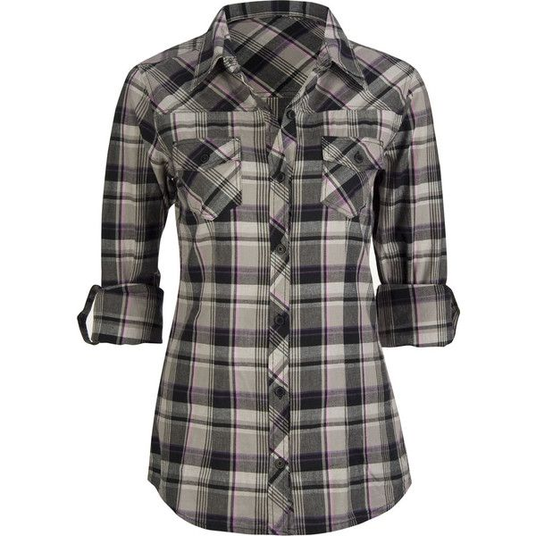Women's Shirts & Flannels: Plaid Shirts, Long Sleeve Shirts, Short... ❤ liked on Polyvore