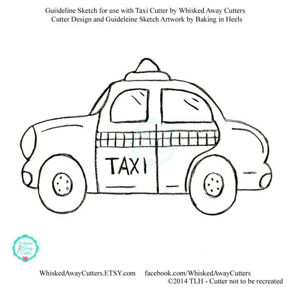 Taxi and Police Car Cookie Cutter - **Guideline Sketch To Print Shown Below**