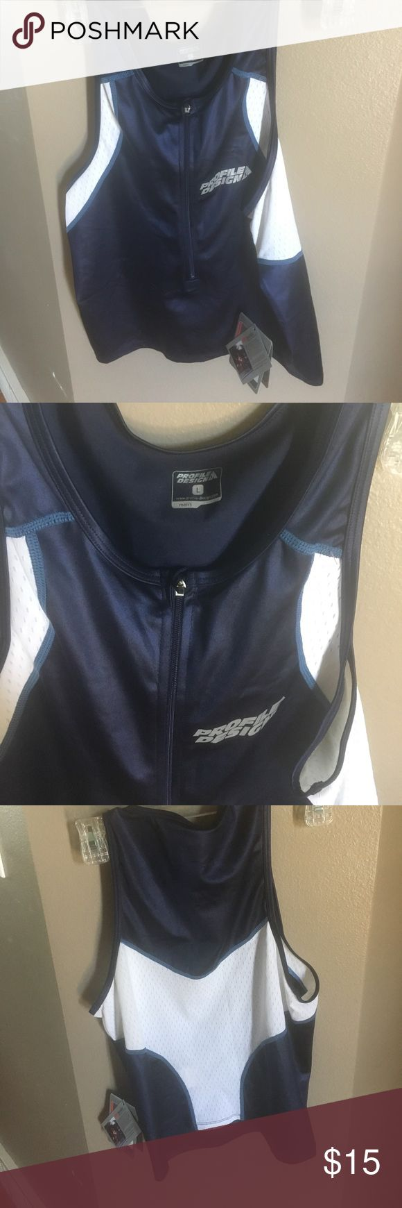 Men's triathlon top size large A new with tags profile designs men's large triathlon top profile Design Shirts Tank Tops