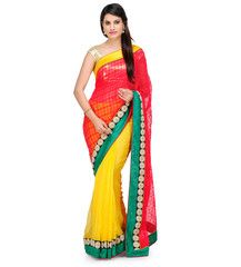 Red and Yellow Faux Georgette and Bhagalpuri Net Saree | Fabroop USA | $56.00 |