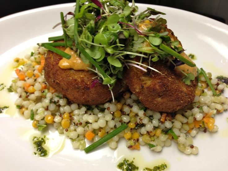 Housemade Jumbo Lump Crabcakes pan seared with Couscous Quinoa Salad ...