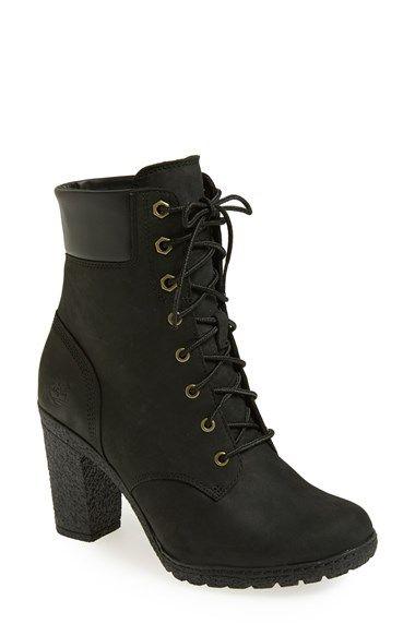 lady timberland heels black