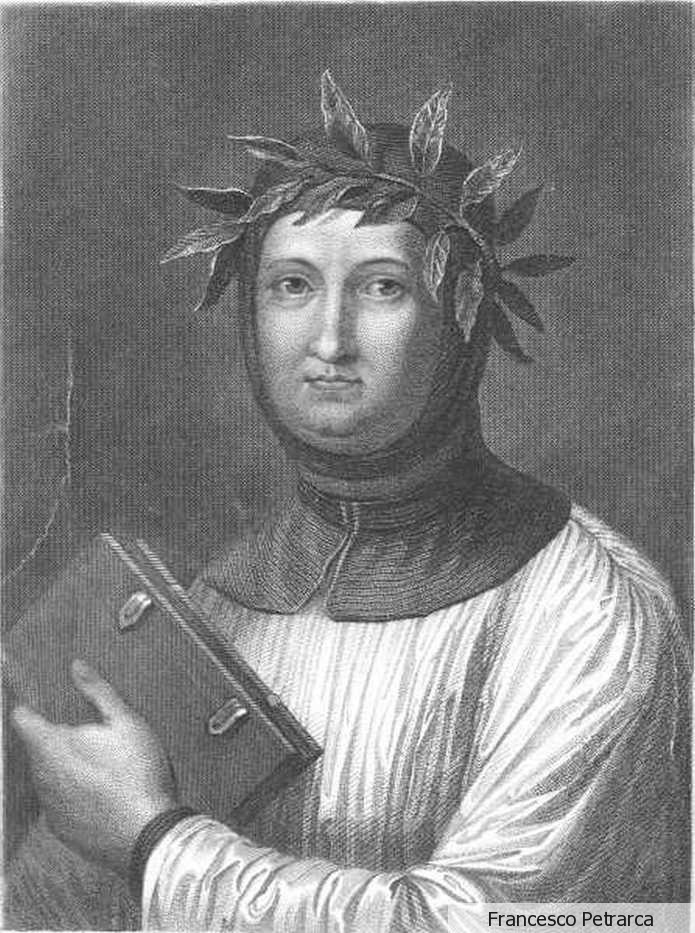 """Francesco Petrarca 1304 – 1374 born in Arezzo, was a scholar, poet and one of the earliest humanists. Petrarch is called the """"Father of Humanism"""". In the 16th century, Bembo created the model for the modern Italian language based on Petrarch's works, as well as those of Boccaccio and Dante. Petrarch's sonnets were admired and imitated throughout Europe during the Renaissance and became a model for lyrical poetry. He is also known for being the first to develop the concept of the """"Dark Ages""""."""