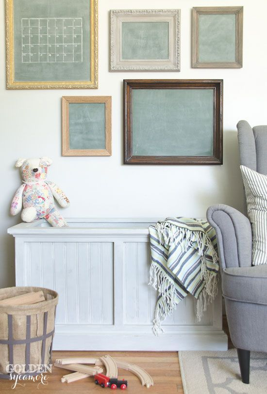 Painted toy chest and vintage chalkboards
