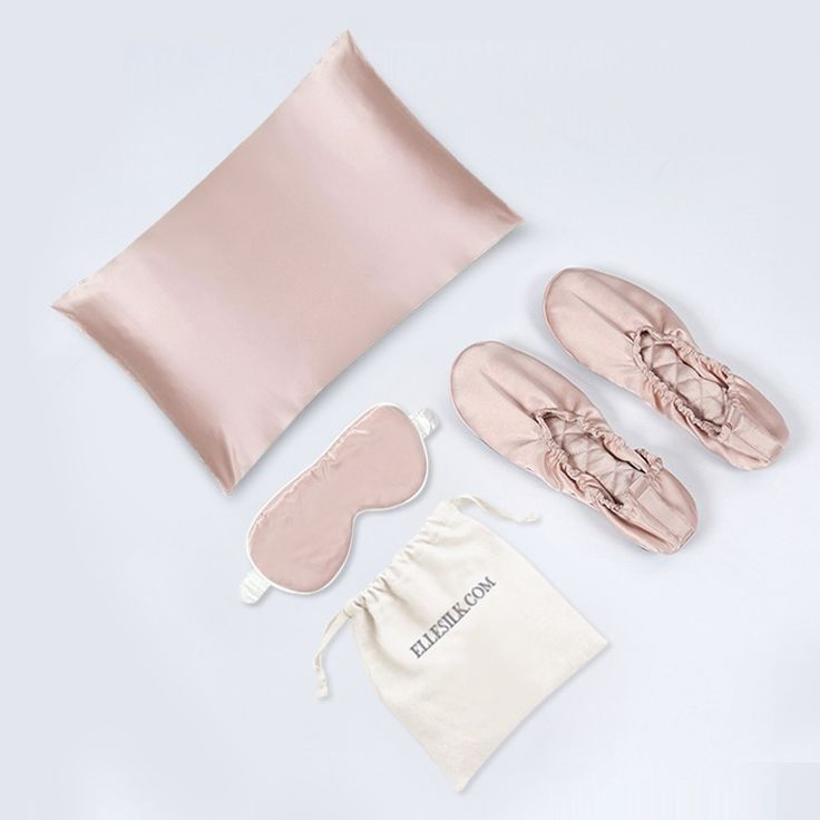 Best gifts for your loved ones. Includes 1 silk pillowcase, 1 silk eye mask, and 1 pair of silk house slippers.