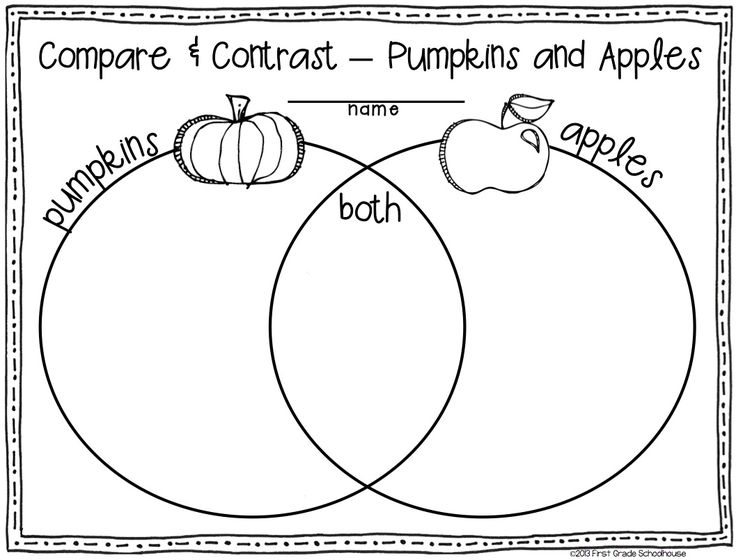 Venn diagram. Pumpkins and apples. Fall writing activities for first graders.